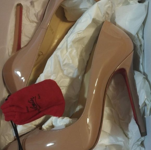 Christian Louboutin Pigale 120 patent calf - nude